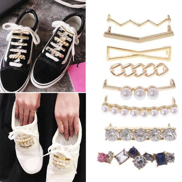 Giá bán Rhinestone Charms Giày phụ kiện Faux pha lê ngọc trai trang trí phụ nữ sáng bóng Decor Buckle Giày Clips dây Giày Clip dây giày khóa