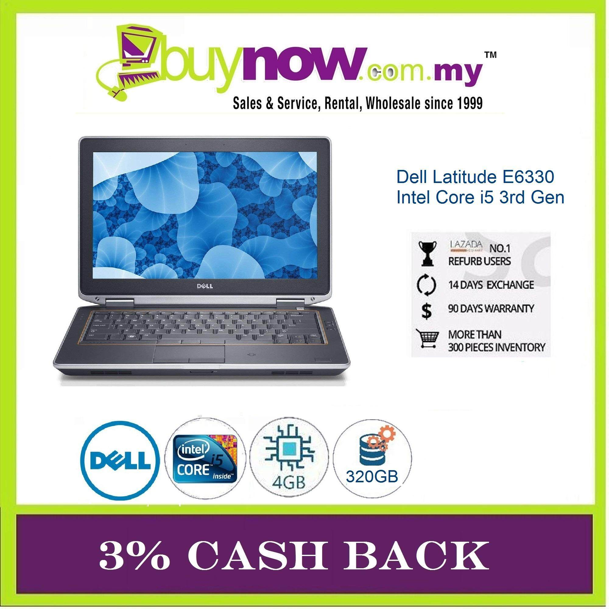 DELL LATITUDE E6330 Notebook Laptop 3rd Generation Intel Core i5 / 4GB RAM / 320GB HDD / Win OS / FREE NOTEBOOK BAG / 3 Months Warranty (Factory Refurbished) Malaysia