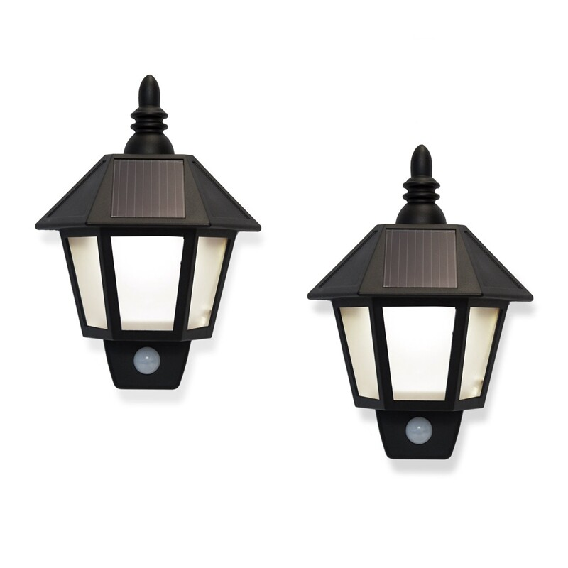 2 Solar Rechargeable Security Wall Sconce Lights With High Tech Motion Detection, Black Exterior, Warm White Leds.