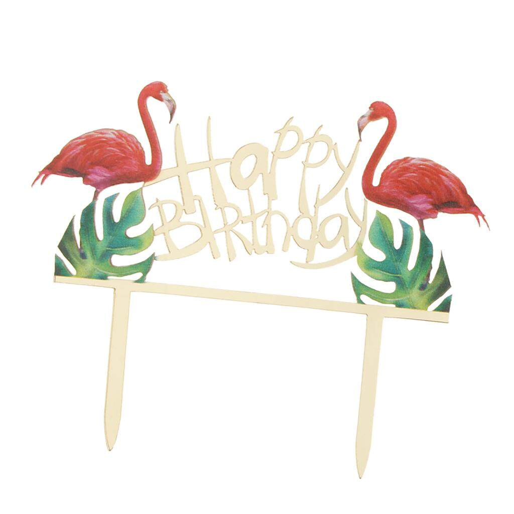Loviver Happy Birthday Flamingo Acrylic Cake Topper Kids Party Baby Shower Decor By Loviver