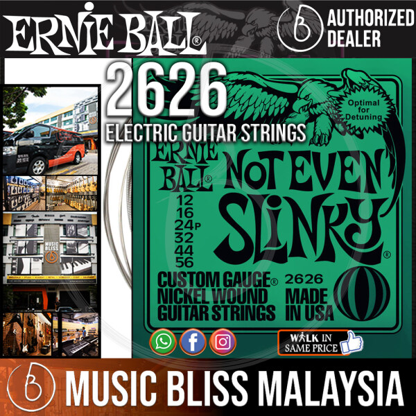 Ernie Ball 2626 Not Even Slinky Nickel Wound Electric Guitar Strings (12-56) *Crazy Sales Promotion* Malaysia