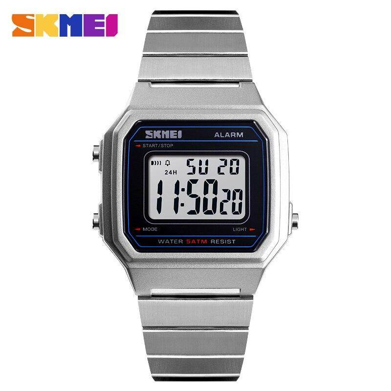 Skmei แฟชั่นนาฬิกาข้อมือลำลองผู้ชายดิจิตอลนาฬิกาข้อมือกันน้ำส่องสว่างนาฬิกาปลุกแสดงผลหน้าจอนาฬิกาผู้ชาย 1377 By Shanon.