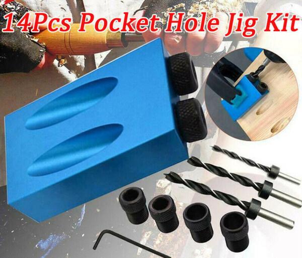 14 Cái/bộ Pocket Lỗ Jig Set 850 Dễ Dàng Khoan Hệ Thống DIY Pocket Lỗ Jig Kit Chế Biến Gỗ Vít Heavy Duty Khoan Công Cụ Hàn