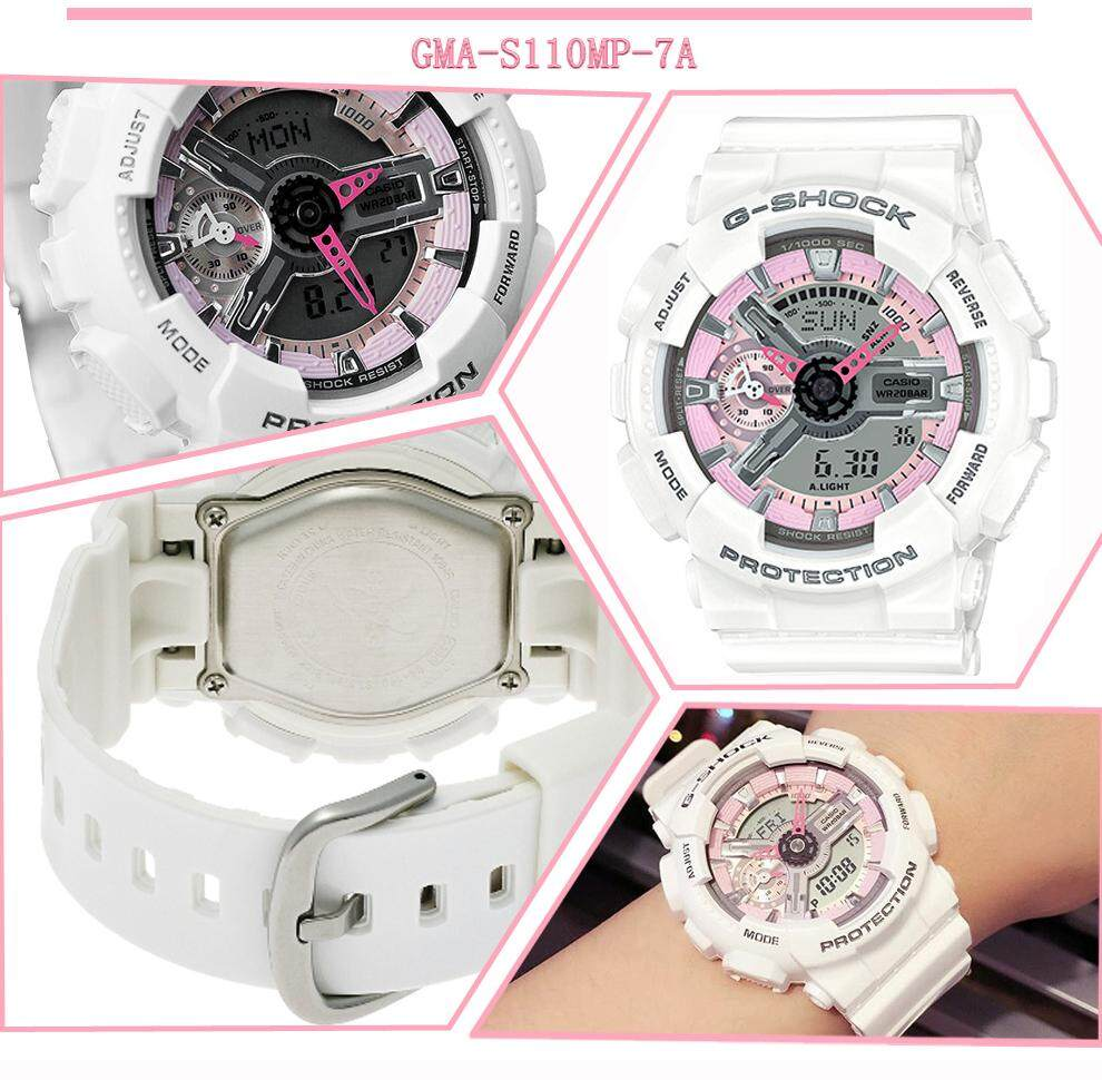 การใช้งาน  นนทบุรี 【 STOCK】Original _ Casio_G-Shock GMA-S110 Duo W/เวลา 200M กันน้ำกันกระแทกและกันน้ำโลกนาฬิกากีฬาไฟแอลอีดีอัตโนมัติ Wist นาฬิกากีฬาสำหรับสตรีสีขาว PIN