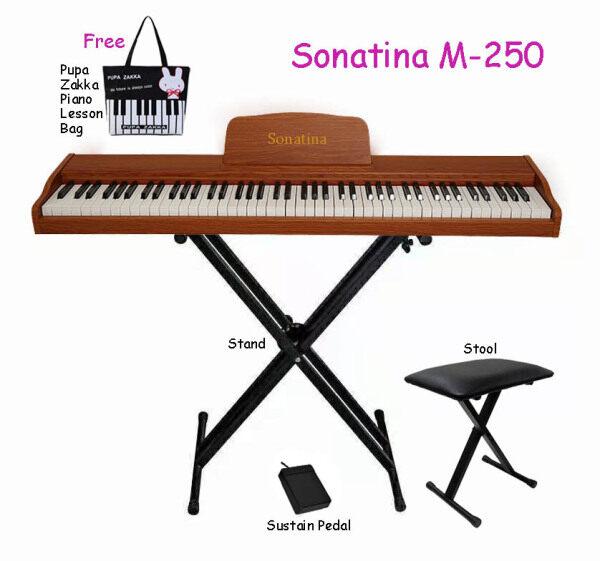 88 Keys Portable Digital Piano Keyboard Electronic Piano Sonatina M-250 Pure Piano Standard Keyboard Key Complete Package Malaysia