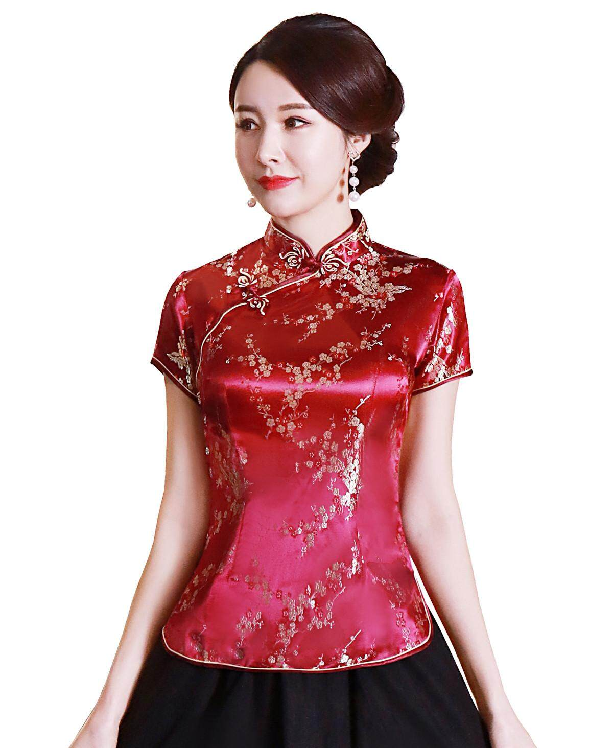 3982d8aed Shanghai Story Flower Embroidery Chinese Cheongsam Shirt Short Sleeve China  Blouse for Women Wine Red