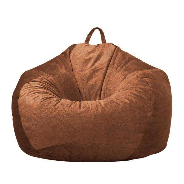 Perfk 2 Brown_2 Velvet Bean Bag Cover Only Pouf Couch Sofa Cover 90x110cm