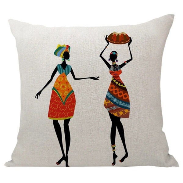 Bảng giá Home Decoration, Beautiful African Women Ethnic style Art images Linen Throw Pillows Pillow Cover Car Cushion Sofa Pillow woman#8 Phong Vũ