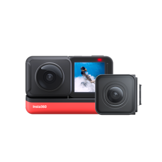 Insta360 ONE R Twin Edition - Action Camera & 360 Camera with Interchangeable Lenses, Stabilization, IPX8 Waterproof, Touch Screen, AI Editing thumbnail