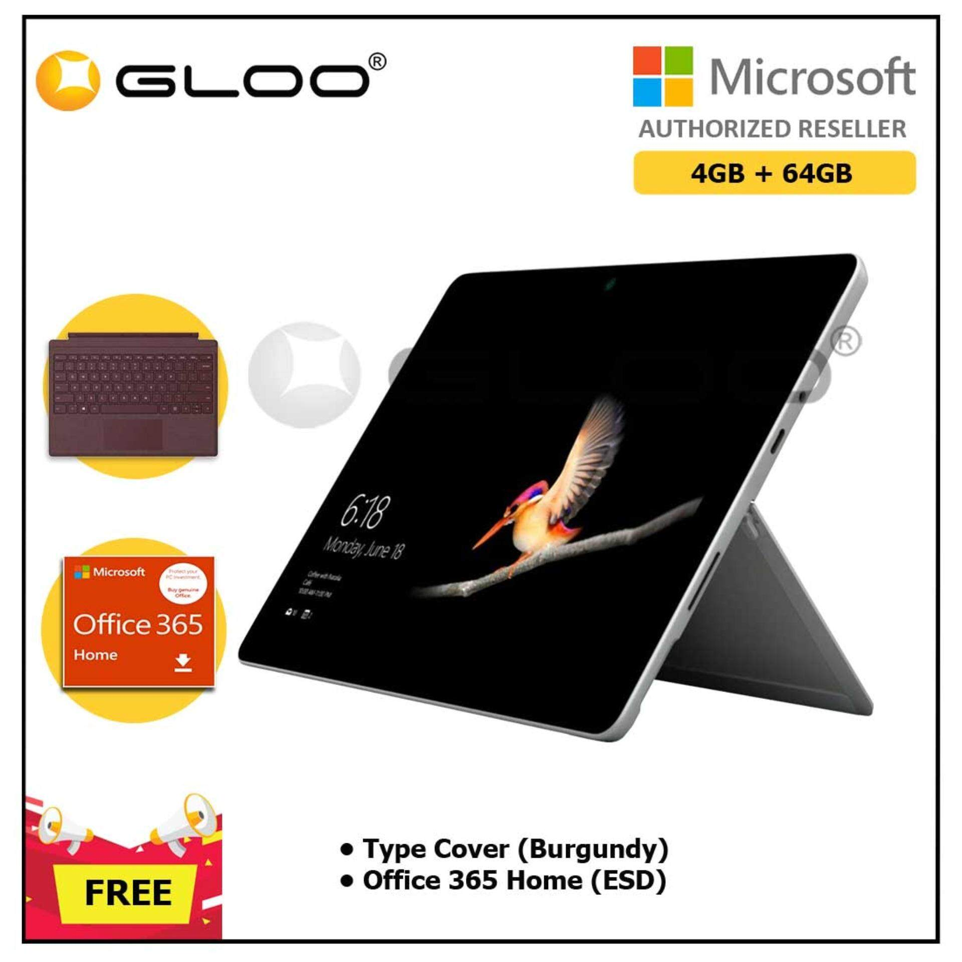 Microsoft Surface Go Y/4GB 64GB + Surface Go Type Cover Burgundy + Office 365 Home ESD Malaysia