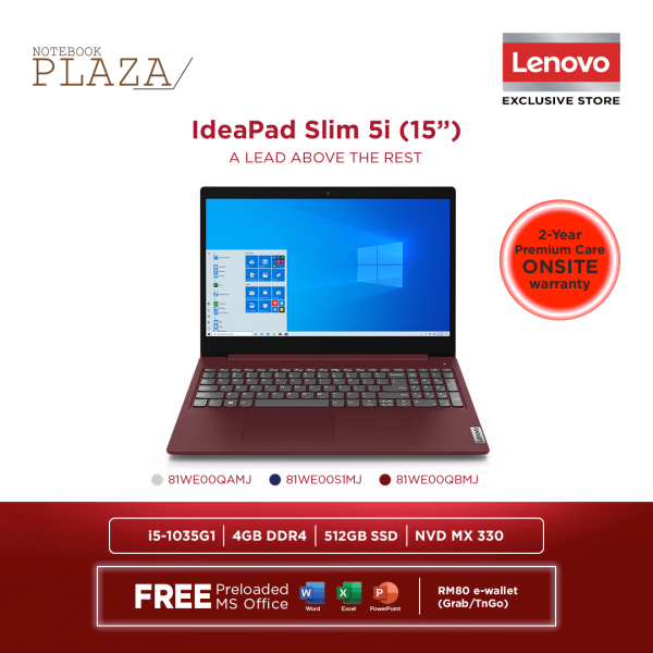Lenovo IdeaPad 3 15IIL05 81WE00QAMJ 15.6 FHD Laptop Platinum Grey ( i5-1035G1, 4GB, 512GB SSD, MX330 2GB, W10, HS ) Malaysia