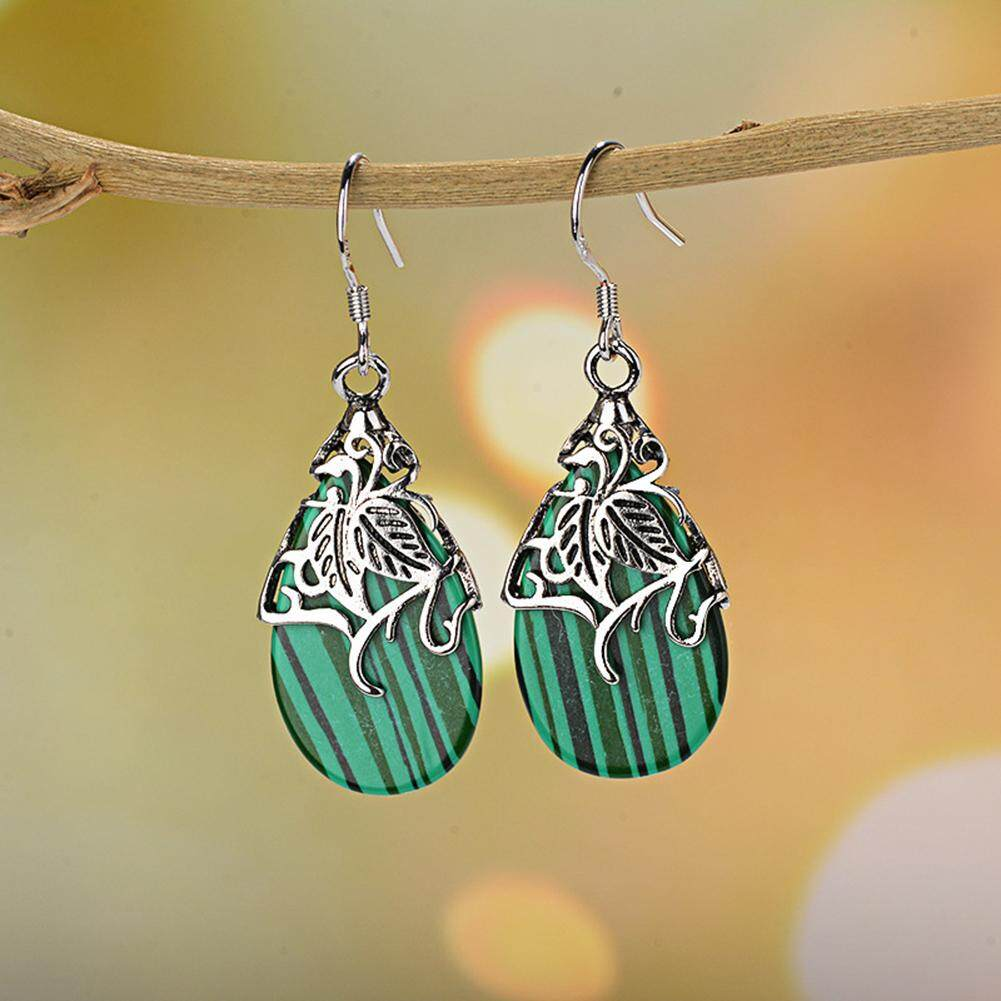 Bluelans®fashion Wanita Faux Strip Shell Drop Ukiran Daun Menjuntai Perhiasan Anting-Anting Kait By Bluelans.