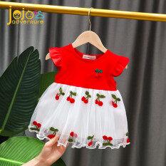 Đầm công chúa tay ngắn siêu dễ thương họa tiết trái cây thiết kế thoáng khí dành cho bé gái từ 0-4 tuổi có 2 màu đỏ và hồng – INTL