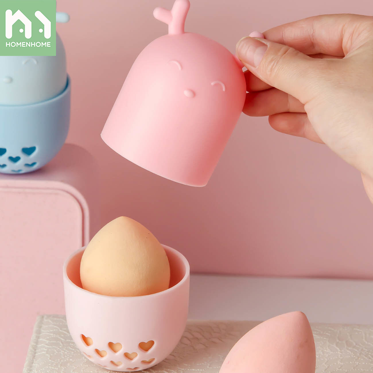 Homenhome Beauty Egg Storage Box With Lid Dustproof Puff Rack Travel Portable Silicone Sponge Protective Cover.