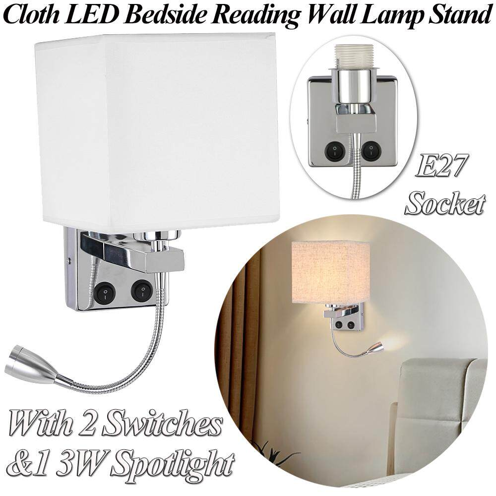 Cloth Home Lighting Living Room Sconce LED Bedside Reading Wall Lamp Stand Swing Arm Light Base with 1 3W Spotlight&2 Switches AC 85-240V(E27 Socket&No Bulb Included)