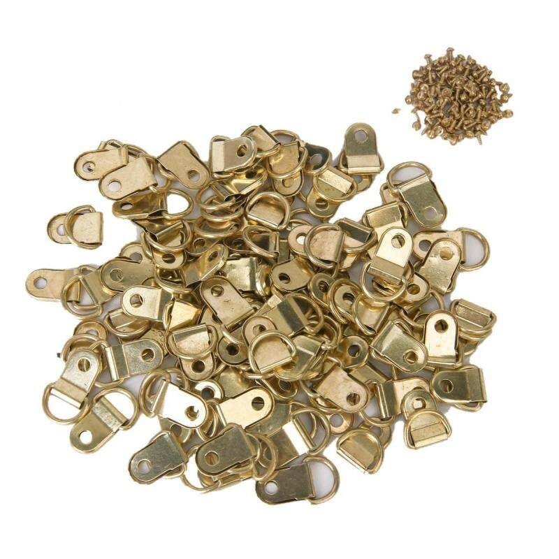 100 PCS Longer D-Ring Picture Frame Hangers Single Hole with Screws