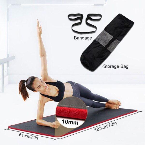 Thảm Yoga PVC Màu Đen Dày Chống Trượt 10Mm, NRB Chất Lượng Cao Thích Hợp Cho Phòng Tập Thể Dục Tại Nhà Pilates Thảm Tập Yoga Cao Su Tự Nhiên