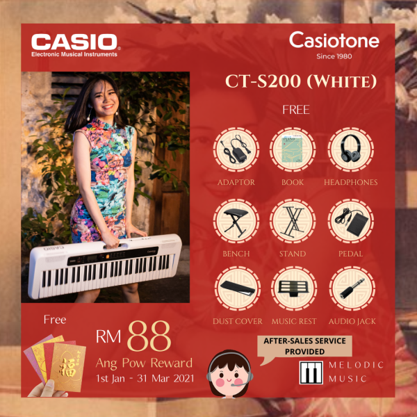 CASIO CT-S200 61 Keys CASIOTONE Keyboard - WHITE with Keyboard Stand, Pedal, Bench, Dustcover, Headphones, Book (CTS200) Malaysia