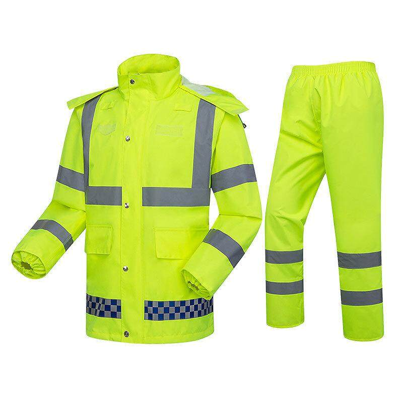 Factory direct reflective raincoat traffic city management warning split raincoat rain pants suit fluorescent yellow waterproof reflective clothing