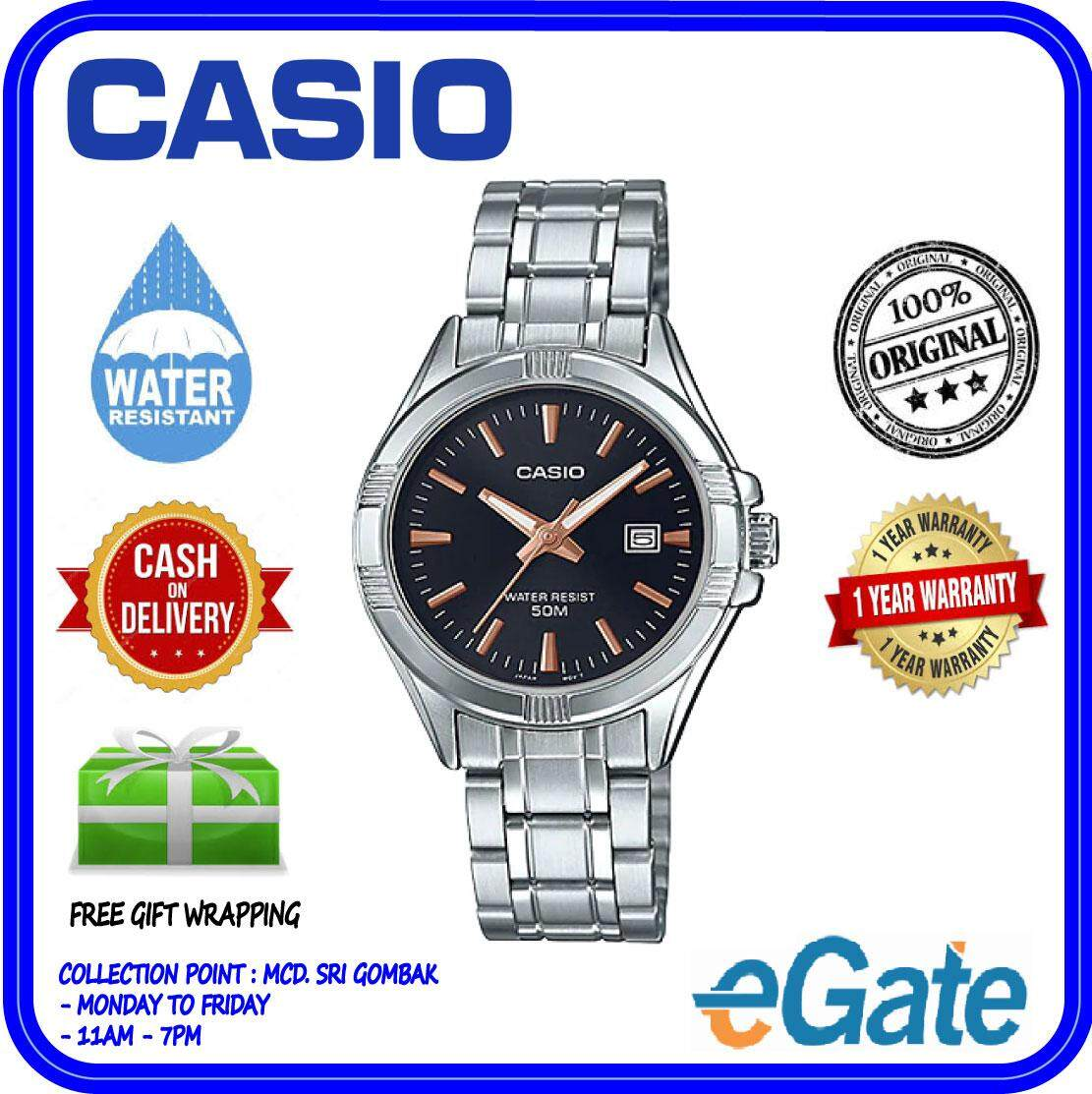 (2 YEARS WARRANTY) Casio LTP-1308D-1A2V Women Analog Date Functioning Classic Black Dial Stainless Steel Original Watch (LTP-1308D) Malaysia