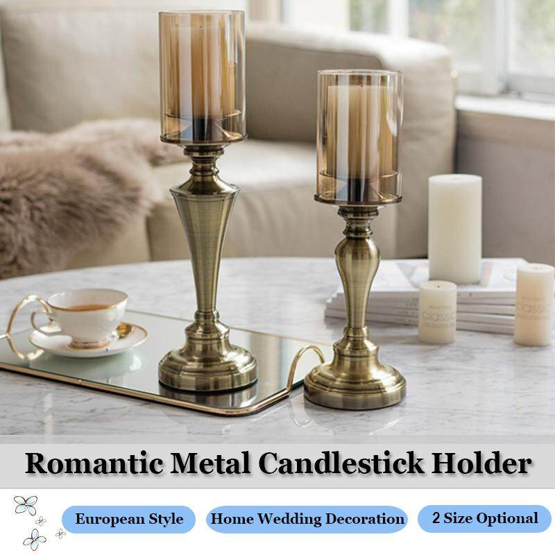 Retro Metal Candlestick Candle Holder European Style Lamp Light Stand for Home Tables Room Wedding Decor Christmas Decor (Not Including Candles)
