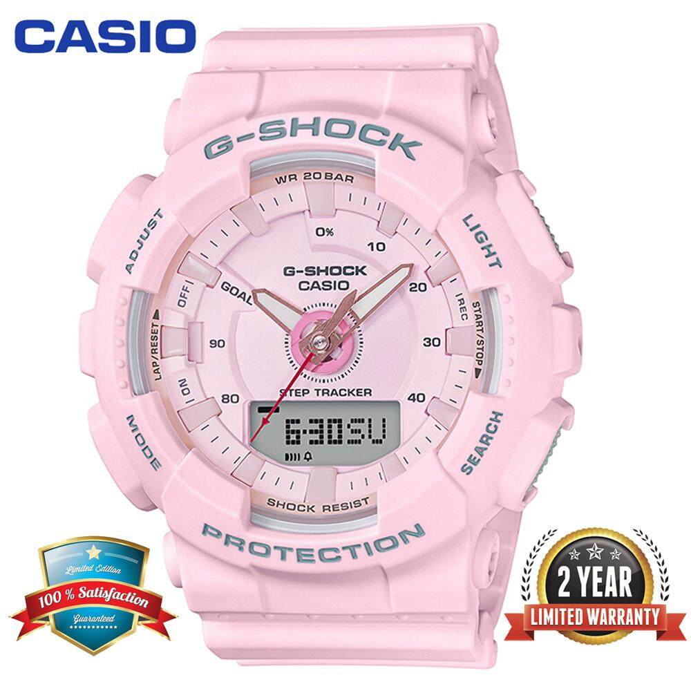 (Ready Stock) G Shock Women Sport Watch GMAS130 Duo W/Time 200M Water Resistant Shockproof and Waterproof World Time Pedometer Stept Counter Sports Watch LED Auto Light Wist Sport Watches with 2 Year Warranty Malaysia