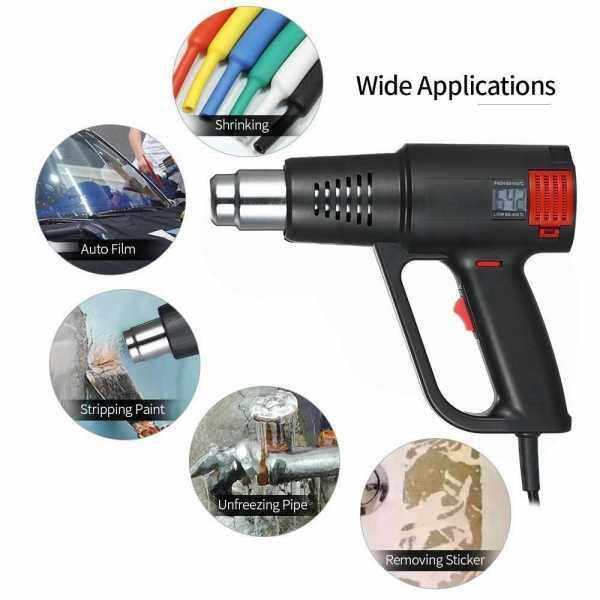 2000W Industrial Fast Heating Hot Air Gun LCD Digital Temperature-controlled High Quality Handheld Heat Blower Electric Adjustable Temperature Heat Gun Tool (Black)