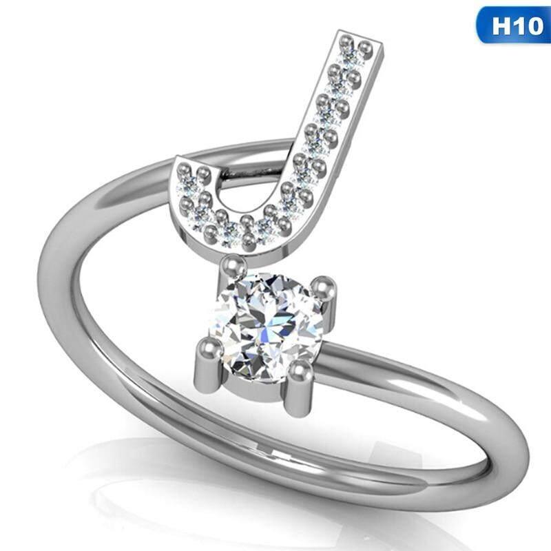 Meiyang Fashion 26 Huruf Cincin Perak Untuk Wanita Berlian Imitasi Terbuka Cincin Jari Wanita Pertunangan Anel Perhiasan Cincin Hadiah Pesta