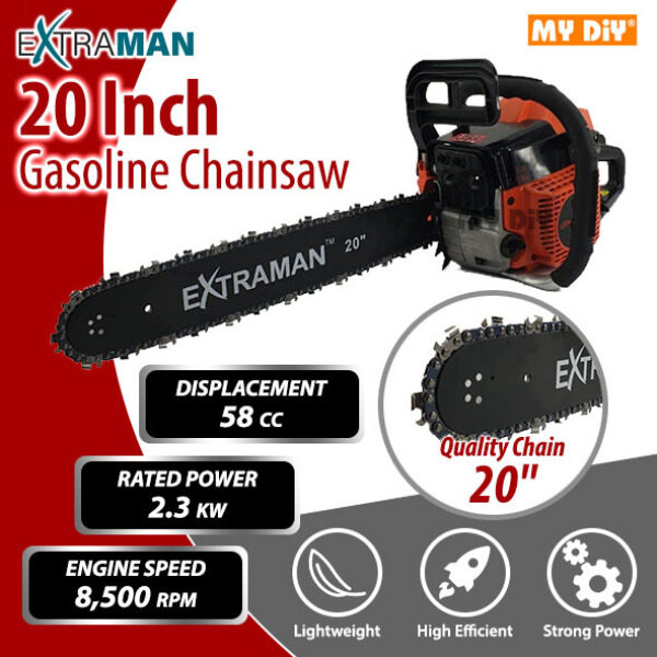 MYDIYSDNBHD - 20 Extraman Chainsaw 58cc 2 Stroke Engine 2.3kw 8500rpm Gasoline Chainsaw 20 / Gergaji Mesin