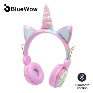 BlueWow BT-121 Cartoon Diamond UnicornBluetooth Headphone Girl Gift Present 85dB Safe Wireless Kids Headphone With Microphone Headset Girls Daughter Music Stereo Compitable for computer and mobile For Kids Online Learning thumbnail