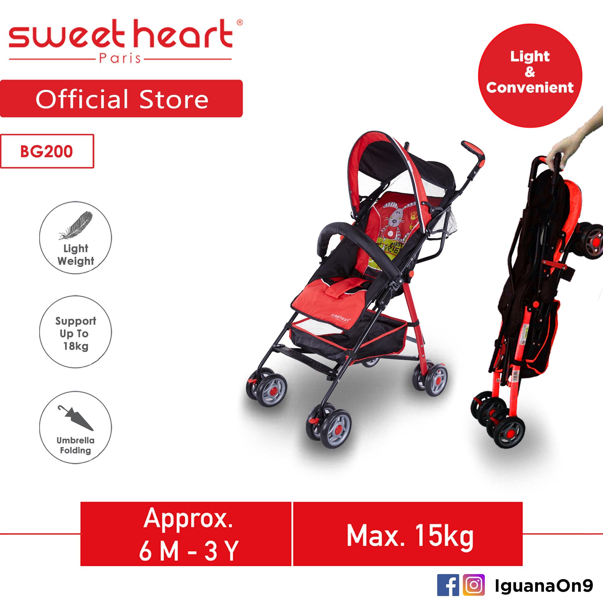 Sweet Heart Paris BG200 Umbrella Stroller Buggy (Red) with Steel Frame & Back-Rest Reclining