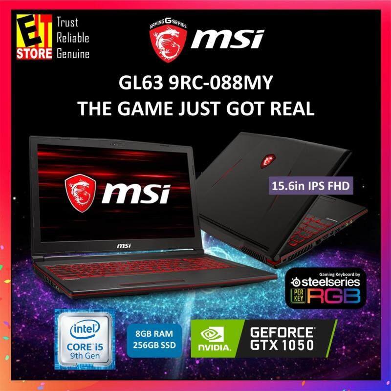 MSI GL63 9RC-088MY BLACK (I5-9300H+HM370/8G/256G SSD/GTX 1050 4G/15.6/W10/2YRS) + BACKPACK Malaysia