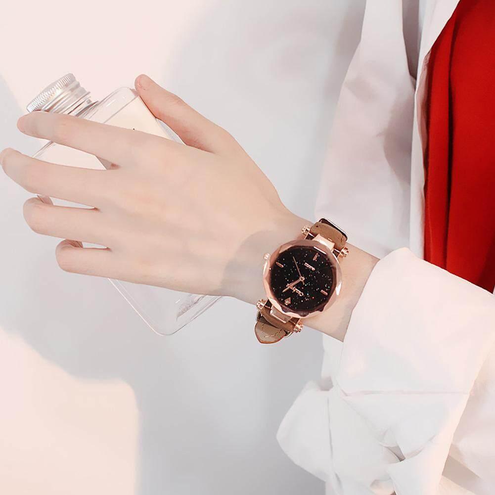 Wangwang Women Wristwatch Casual Leather Watchband Crystal Dial Quartz Watch Lady Dress Watch Korean Fashion Watches Malaysia