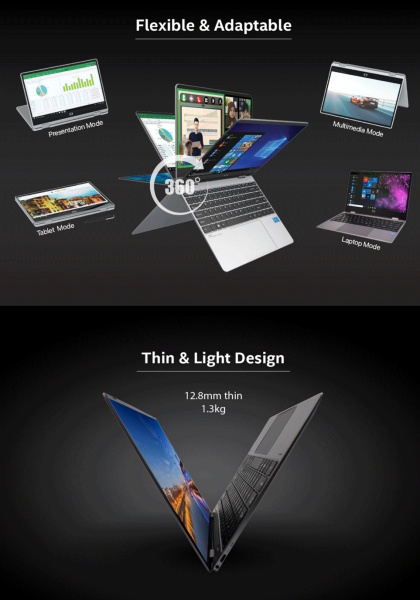 """JOI Book Touch 330 Pro 13.3"""" FHD Touch Laptop Grey ( Celeron N4120, 4GB, 64GB + 256GB SSD, Intel, W10P ) Malaysia"""