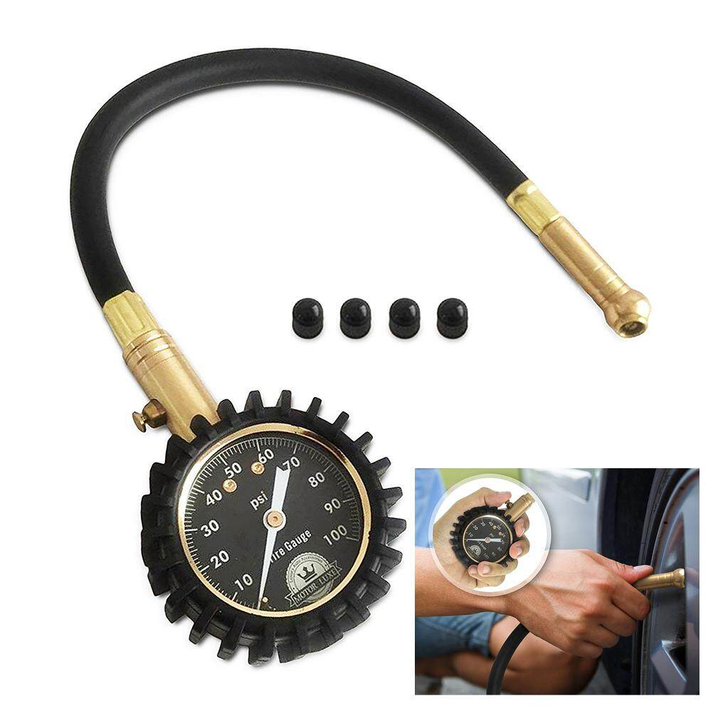Tire Pressure Gauge 100 Psi Accurate Heavy Duty Air Pressure Tire Gauge For Your Car Truck And Motorcycle With 4 Free Valve Caps By Chaoshihui.
