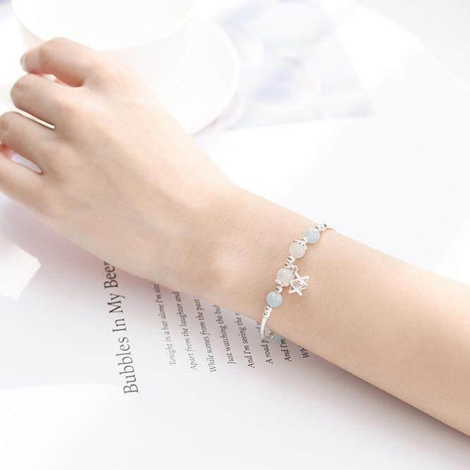 [Promotion and salary increase  Love shun] Sea blessing Moonstone Shilanbao sterling silver crystal bracelet Natural crystal Bracelet beads sapphire girlfriends Exchange gifts
