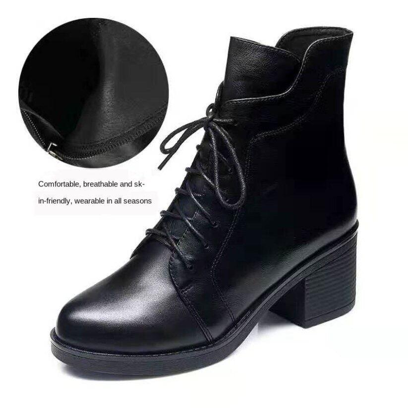 Giày Bốt Martin Gót Dày GAB616 Bốt Nữ Cổ Ngắn Có Dây Kéo Phong Cách Anh Mới Thu Đông 2020 Bốt Cotton Cao Gót Phong Cách Hàn Quốc giá rẻ