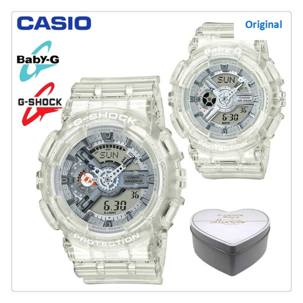 Original G Shock-BA-110CR-7A/GA-110CR-7A Men Women Couple Set Sport Digital Watch Duo W/Time Resistant Shockproof and Waterproof World Time LED Light Wist Sports Lover Watches with 2 Year Warranty BA110/BA-110 GA110/GA-110 Transparan Malaysia