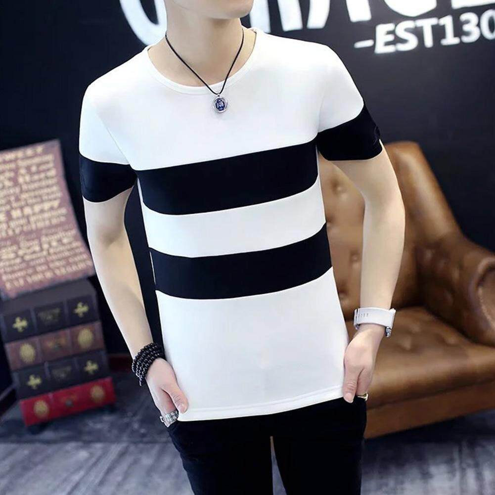 a45294c522 Timemall Men Casual T-shirt Fashion Korean style Round Collar Stripes  Pattern Short Sleeve Tops