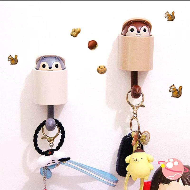 1PCS Creative Cartoon Squirrel Wall Hook Key Rack Hold Home Decoration Kitchen Hook Bathroom Accessories Coat Hanger