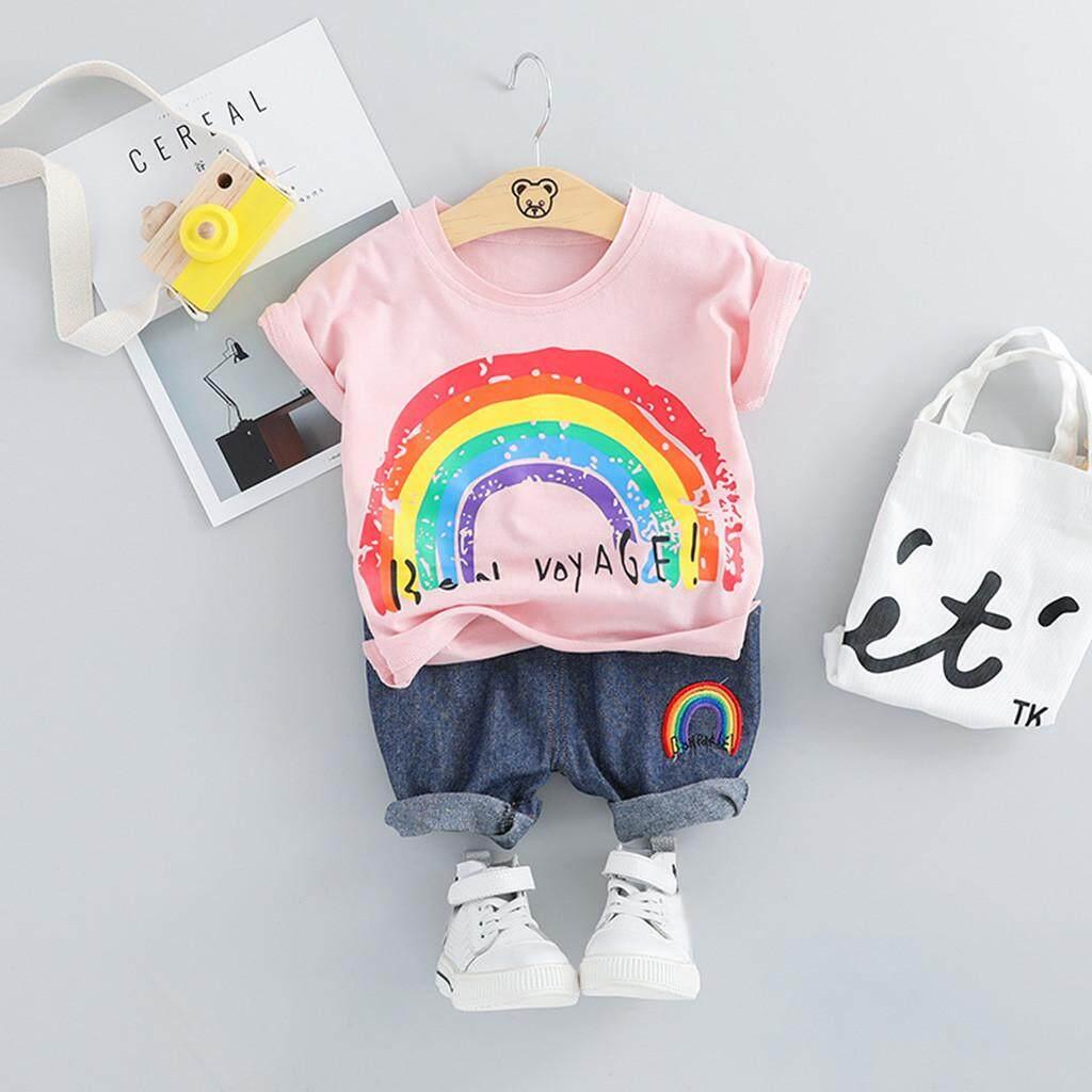 Malonestore เด็กทารกวัยหัดเดินเด็กชายการ์ตูน Rainbow กางเกงขาสั้นชุดเสื้อผ้าลำลอง
