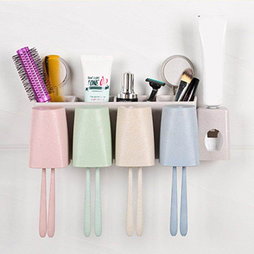 LALOVE Wheat Straw Wall Mount Toothbrush Holder Wash Suit with Toothpaste Squeezer