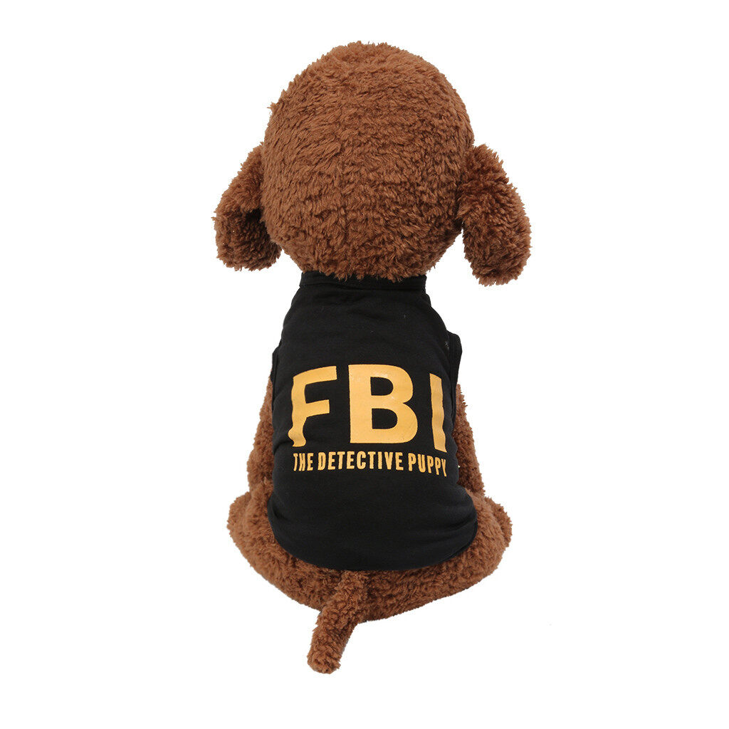 Foctroes Fashion Pet Spring And Summer Breathable Classic Fbi Print Vest Dog Cat Clothing Pet shop Pet accessories Pet Clothes Cloth Chinese.