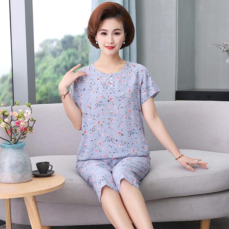 Nơi bán Mùa Hè Mới 2020 Bộ Đồ Ngủ Bằng Lụa 40 Cotton Cho Mẹ Váy Trung Niên Và Người Cao Tuổi Thời Trang In Phần Mỏng Nhà Sản Xuất Hai Mảnh Được Phê Duyệt