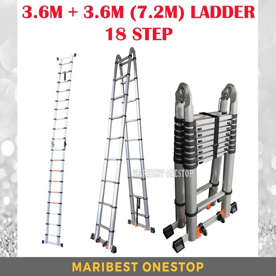 7.2M Double-Sided Multipurpose Telescopic Extendable Aluminium Ladder