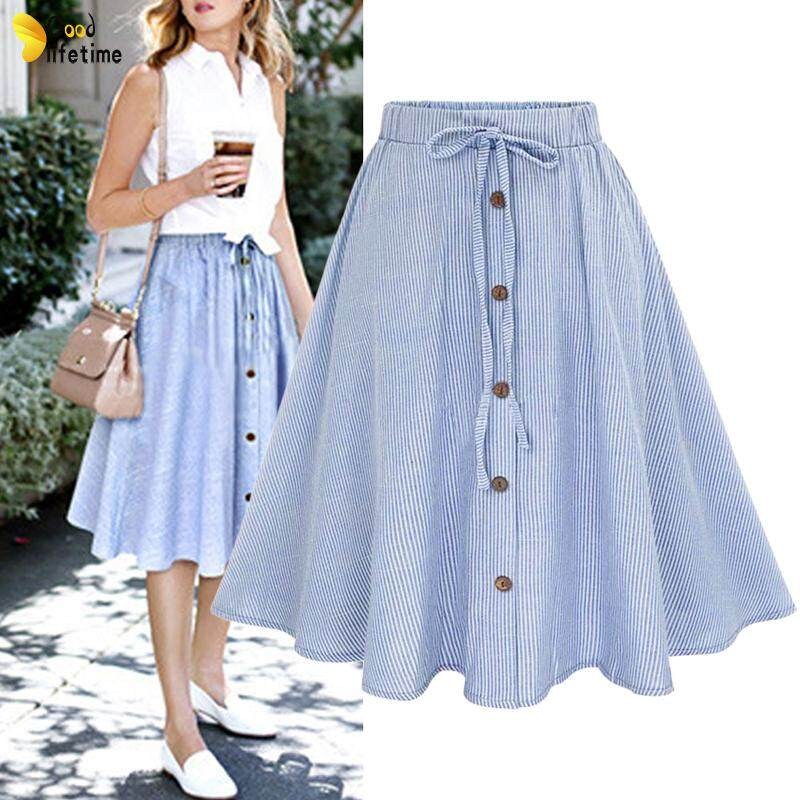 7b66e82a1 GLT Women Retro Stretch Skirt High Waist Plain Skater Flared Pleated Midi  Summer Skirt