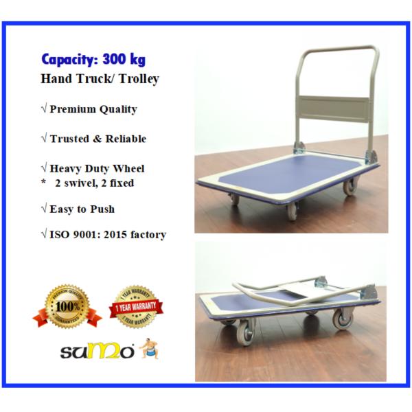 SUMO 300kg Metal Steel Platform Hand Truck Hand Push L Trolley Troli Cart Foldable Handle Heavy Duty | 1 Year FULL Warranty