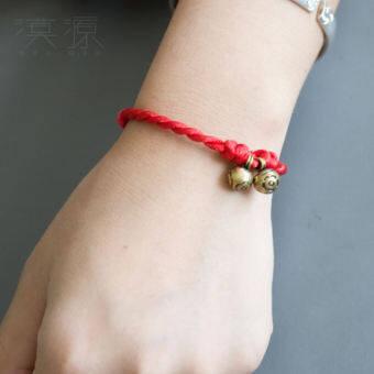 """""""漠源"""" ไก่ปีที่ครบรอบปีเกิดของตนเอง (ปีนักษัตร) เชือกแดงห่วงทองแดงสร้อยข้อมือผู้หญิงผู้ชายคู่รักเชือกมือถัก SHJIX"""