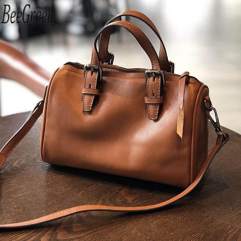 BeeGreen Top Quality Handbag Retro Design Boston Bag Soft Genuine Leather Shoulder Bag