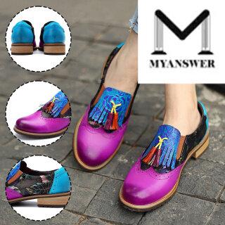 Giày MyAnswe Cho Nữ Giày Cổ Điển Tua Rua In Họa Tiết Nhiều Màu Phong Cách Dân Tộc Mũi Tròn thumbnail